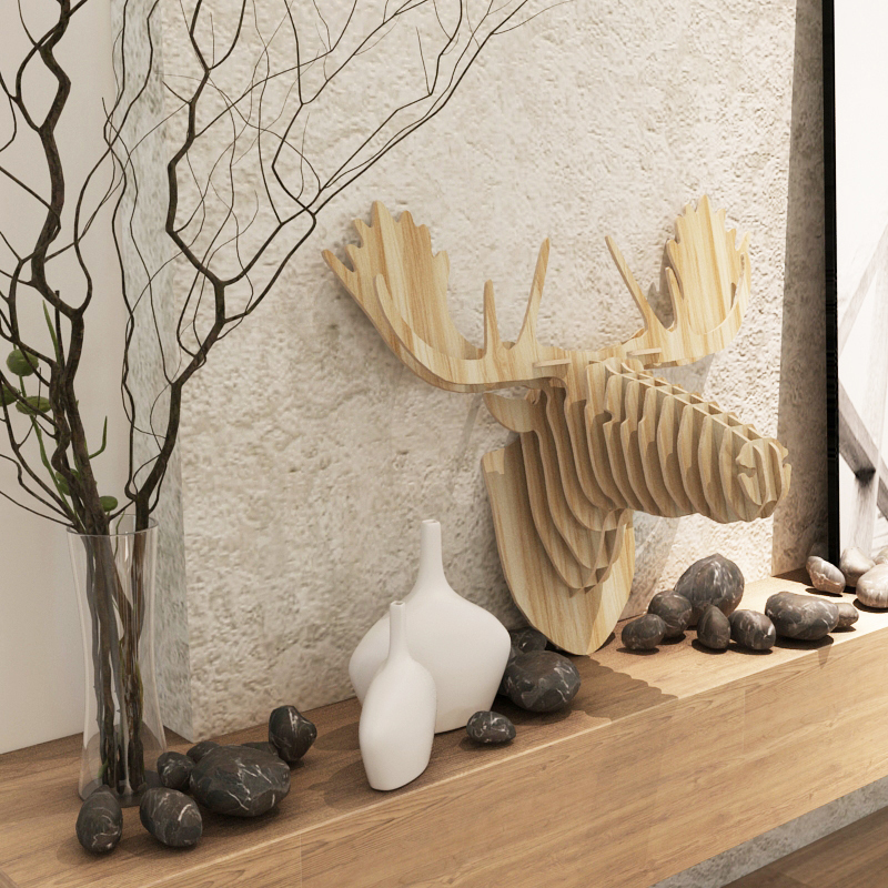 christmas colorful deer decor finland norway canada moose head elk reindeer diy wood crafts