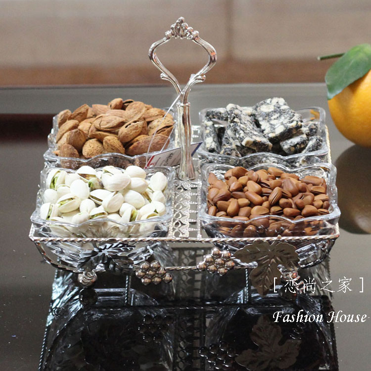 European luxury alloy glass lattice / isolation combined snacks nuts Shuiguo Pinpan candy dish dish(China (Mainland))