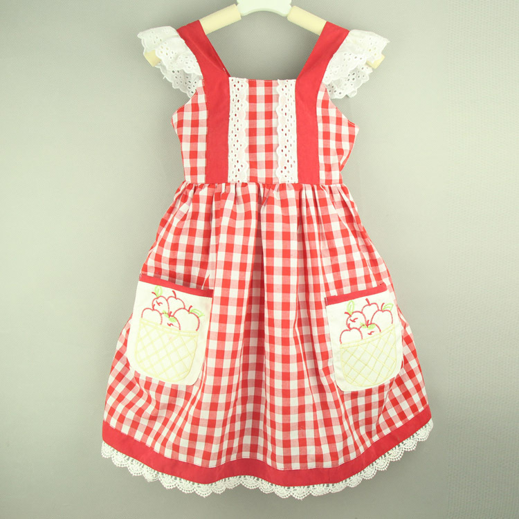 2015 Summer Girls Clothes Red Check Baby Girls Dress Cotton Casual Girls Dresses Plaid Sleeveless Kids Dresses for Girls(China (Mainland))
