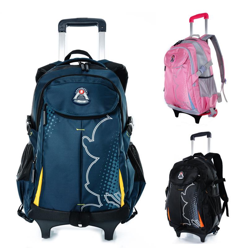 Buy Casual rolling child school bag boys children trolley backpack ...