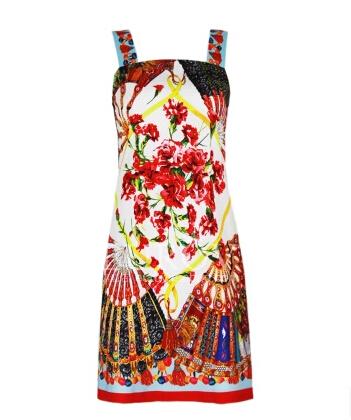 New 2015 women summer runway fashion casual Dresses elegant vintage Prints designer Dresses spaghetti strap casual Dresses D3526