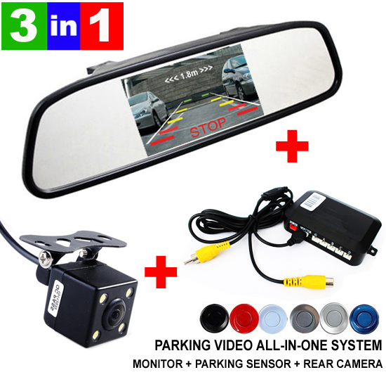 3in1 Dual Core CPU Car Parking Assistance Sensor Reversing Radar Video all-in-one System Connect Car Monitor and Rearview Camera(China (Mainland))