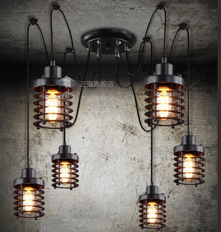 Vintage Wrought Iron Pendant Lamp Restaurant Hanging Lights 6 heads Edison bulb Industrial Lighting Free shipping PV003(China (Mainland))