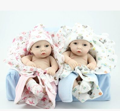 """New 28cm Soft Silicone Reborn Baby Doll 11"""" Silicone Vinyl Body Girl Brinquedos Dink Doll Lifelike Newbabies Play House Toys(China (Mainland))"""