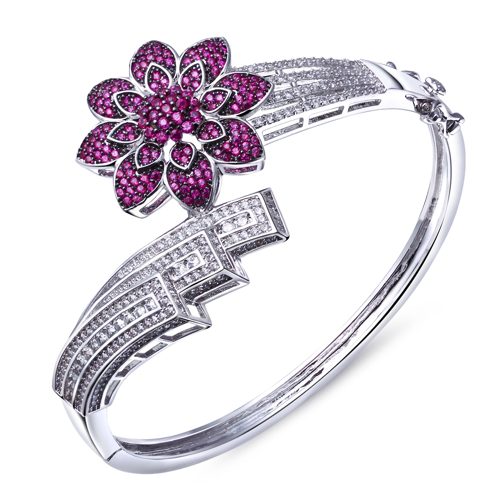 Sweet Look Red Flower Bangles Lover Jewelry Statement Bracelet bangles Made with aaa Cubic Zirconia Platinum Plated(China (Mainland))