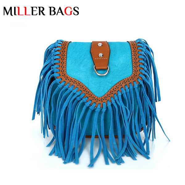 bolsa feminina hot women messenger bags vintage leather handbags designer tassel bag cross body shoulder bag hobos bolsa franja(China (Mainland))