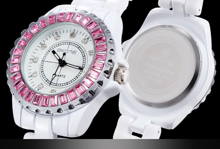 Марка 2016 Стразы Белые Керамические Часы Женщины Передач Сплава Кварцевые Женские Часы