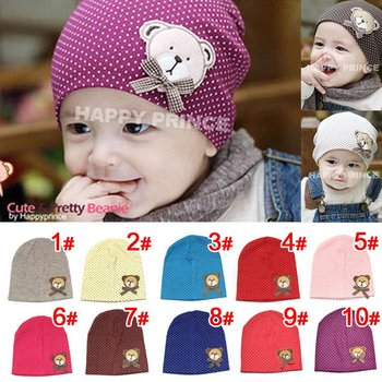 10pcs/lot new style wholesale free shipping fashion baby hat baby bear hat baby cap infant hat infant cap headress
