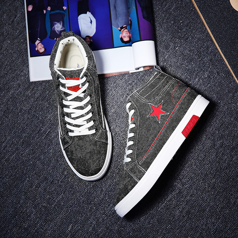 2016 New Fashion Korea Style Spring Autumn Men Hightop Canvas Shoes Lace-up Men Casual Shoes Breathable Sapato Masculino<br><br>Aliexpress