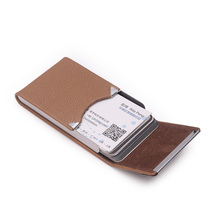 Trend Men Women's Unisex Leather Stainless Steel Hasp Business ID Credit metal bank card case card box Large Capacity Card Bag(China (Mainland))