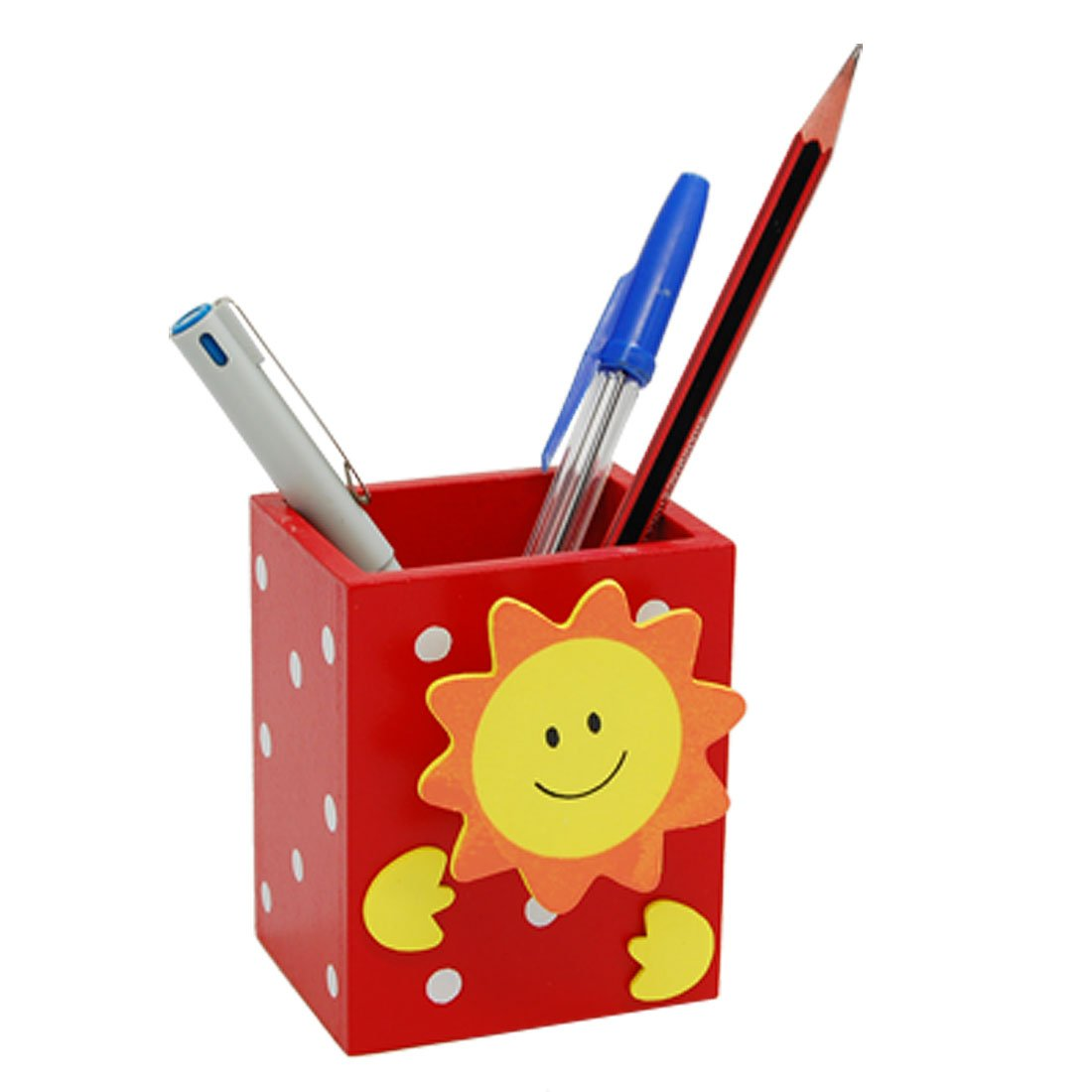 Wholesale Smile Sun Red Wooden Pencil Pen Holder with Memo Clip(China (Mainland))