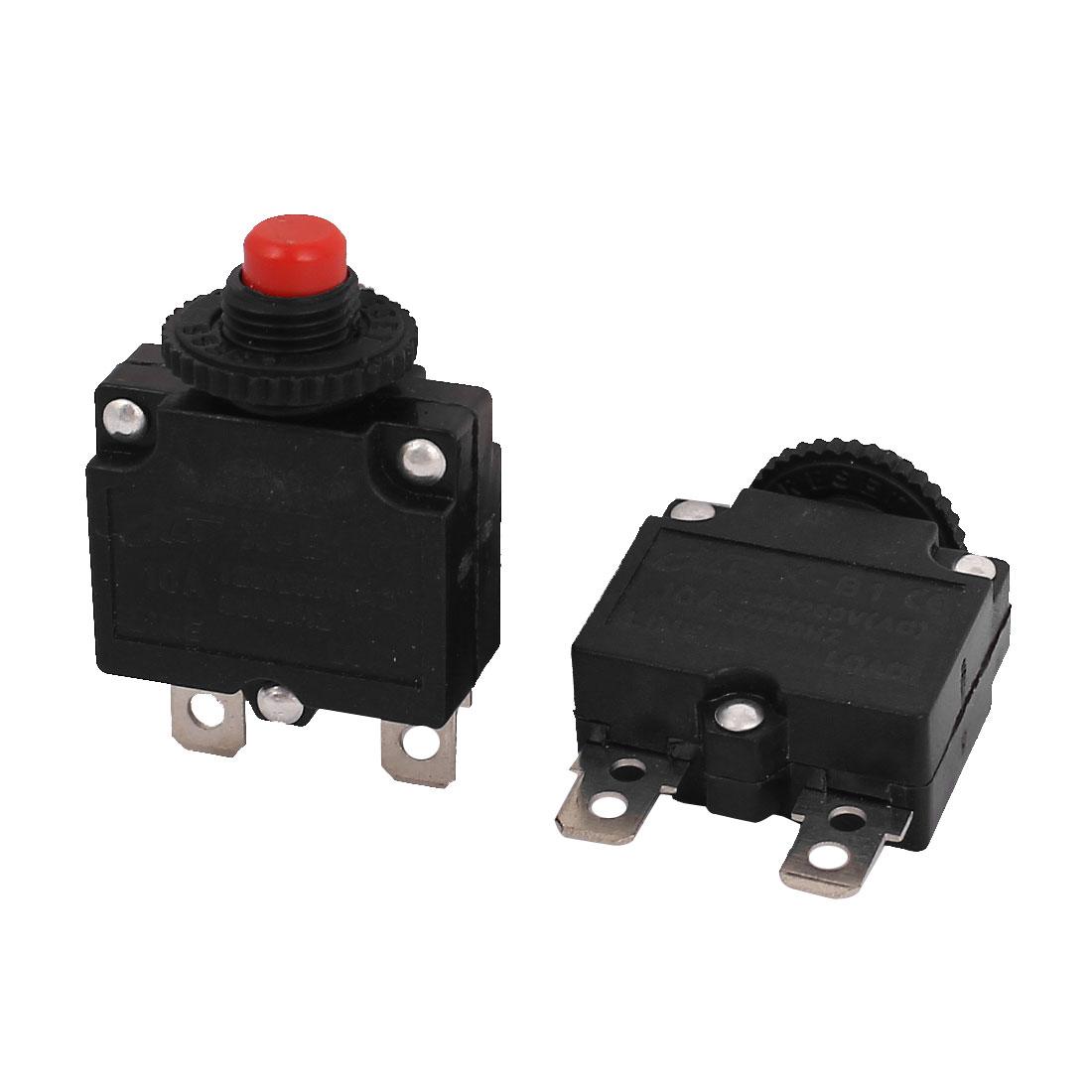UXCELL Material Ac 125V/250V 10A 10Mm Thread Nc Push Reset Overload Circuit Breaker 2Pcs metal plastic,