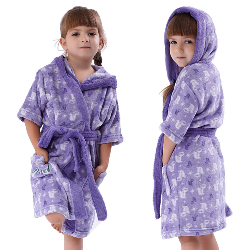 Girls Purple Bathrobe Coral Fleece Cartoon Princess Ariel Peignoir Enfant Kids Hooded Pajama Robes Dressing Gown for Children(China (Mainland))
