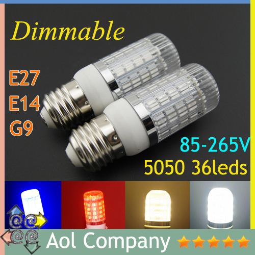 Ultra Bright 6W 36 5050 SMD LED corn lamp Dimmable 85-265V G9 E14 E27 warm white blue red white With transparent cover DHL free(China (Mainland))