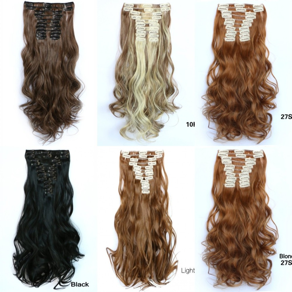 "Mega 22 Clips on curly hair extension 12pcs/set 55cm 22"" clip in lifelike human natural hair extensions hairpieces extensions"