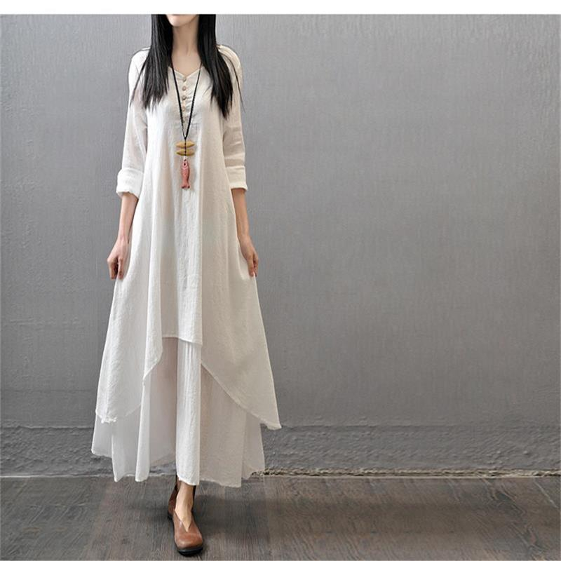 2016 women linen dress autumn fake two big swing dress literary loose long-sleeved Fluid Systems dress(China (Mainland))