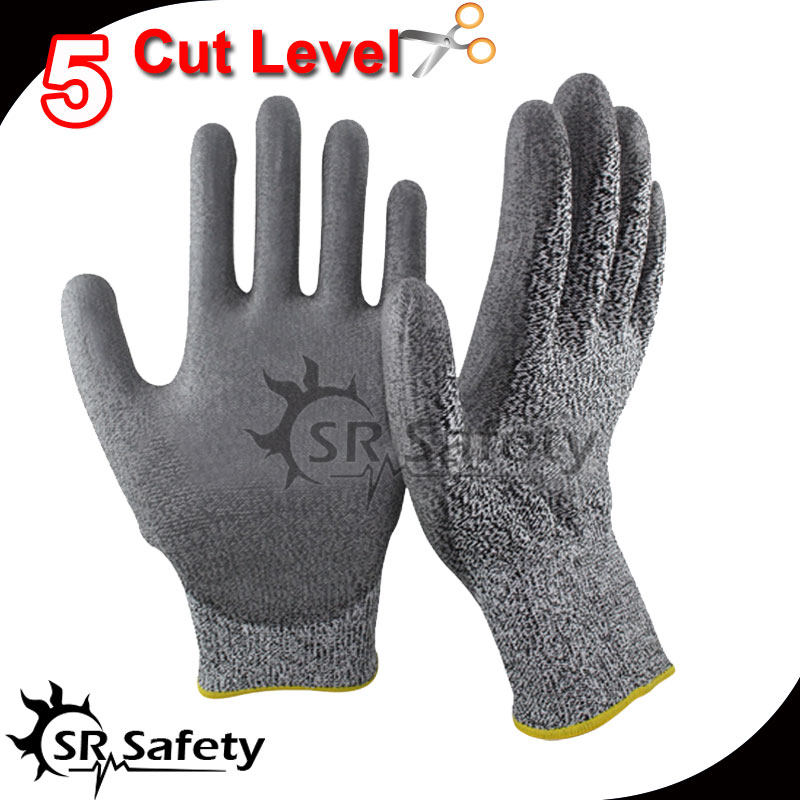 Free Shipping !!! SRSAFETY cut resistant pu dipping glove,cut level 5(China (Mainland))