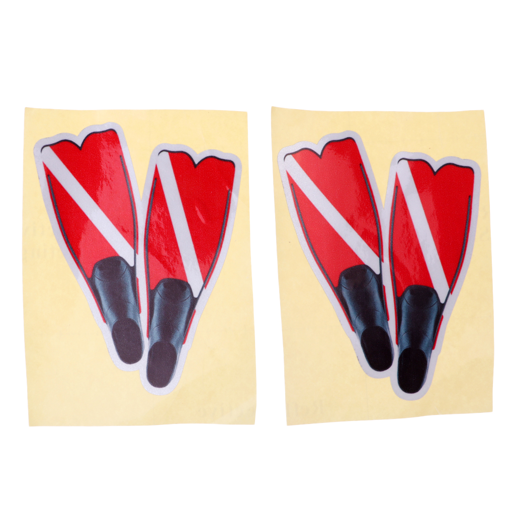 Perfeclan 2 Pieces Scuba Diving Dive Flag Fins Sticker Decal for Water Sports Swim Boat Car Truck Window Decals Accessories