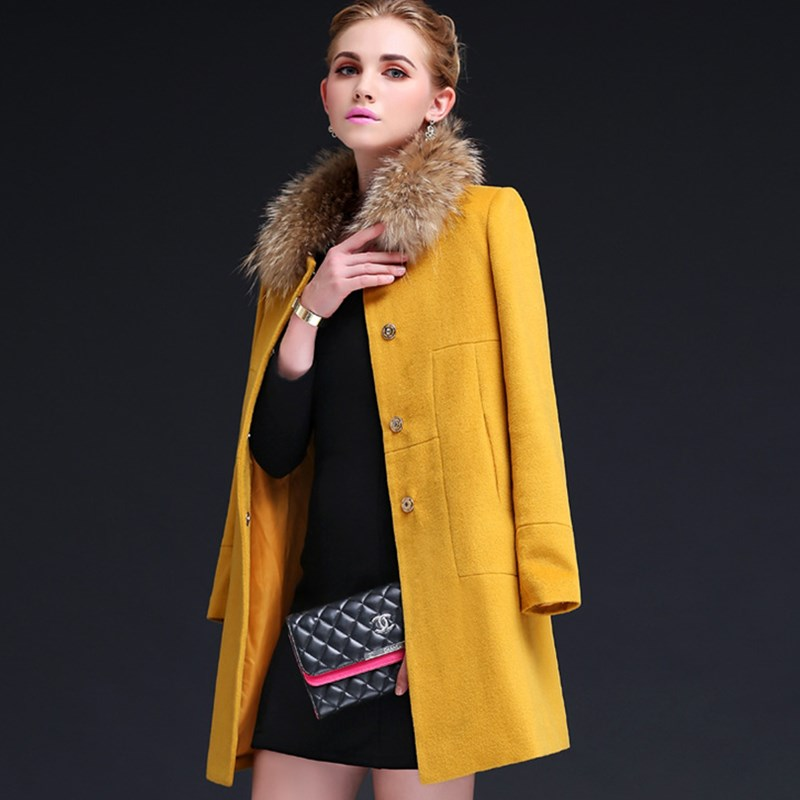European Brand Quality Wool Coat 2015 Winter New Womens Raccoon Fur Collar Jacket  Fashion Slim Long Woolen Coat JY-1063Одежда и ак�е��уары<br><br><br>Aliexpress