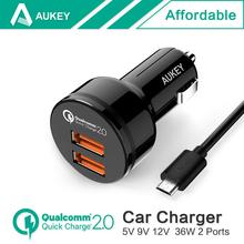 Aukey быстрая зарядка 2.0 36 Вт 2 разъём(ов) USB адаптер автомобильное зарядное устройство, Двойной турботаймер быстрое порта как поддержка QC 2.0 12 В / 1.5A 9 В / 2A 5 В / 2.4A