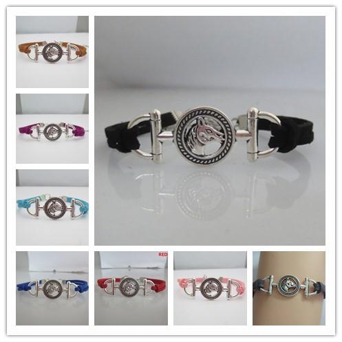 charm love horse bracelets fashion girl bracelet purple pink black brown colors for customise(China (Mainland))