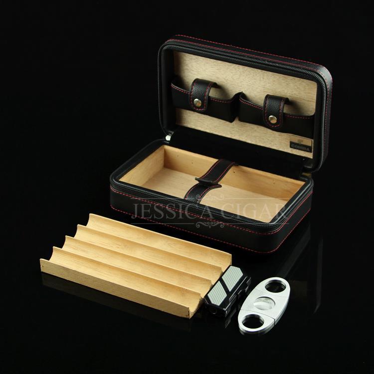 COHIBA Cigar Humidor Set Black Leather Spain Cedar Wood Cigarette Storage Box w/ Cutter & Lighter(China (Mainland))