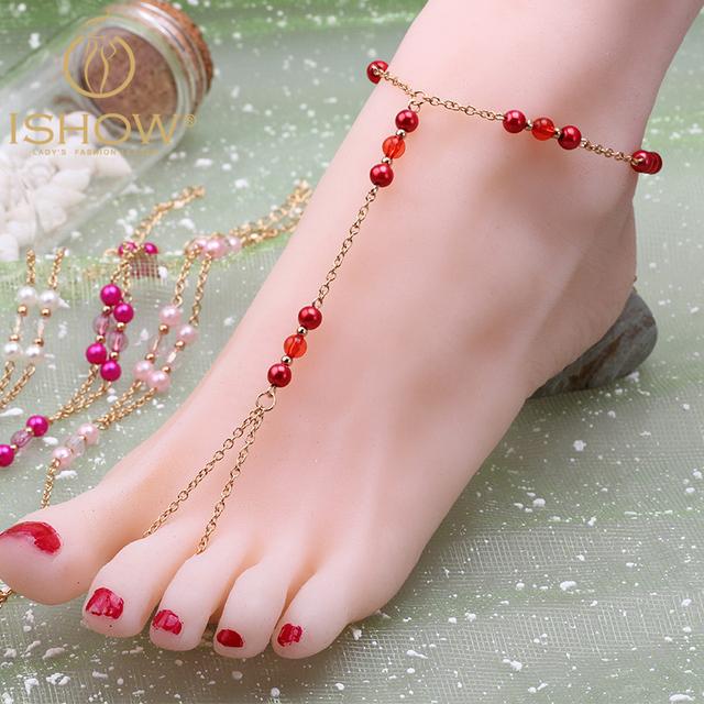 Бисером босиком сандалии ножной браслет tornozeleira cheville де pulsera ору tobillo ...