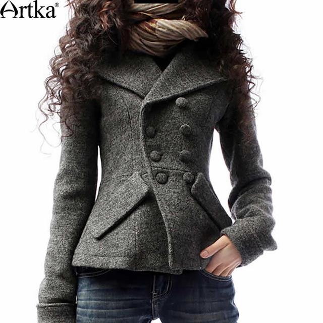 Artka женская ретро новая коллекция зимней одежды с длинными рукавами высококачественная удобная двубортная приталенная шерстяная верхняя одежда теплое шерстяное полупальто A09792