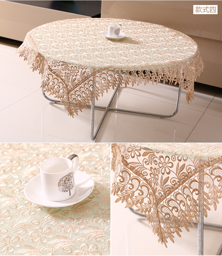 Fresh Style Glass Yarn Translucent Embroidery Round Tablecloth European Dinner Table Cloth Lace Tea Table Cover New FreeShipping(China (Mainland))