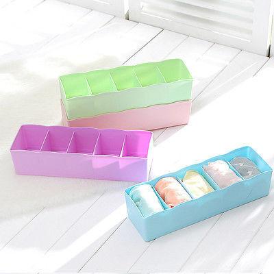 1 X 5 Cells Plastic Organizer Underwear Storage Box for Tie Bra Socks Drawer Cosmetic Divider(China (Mainland))
