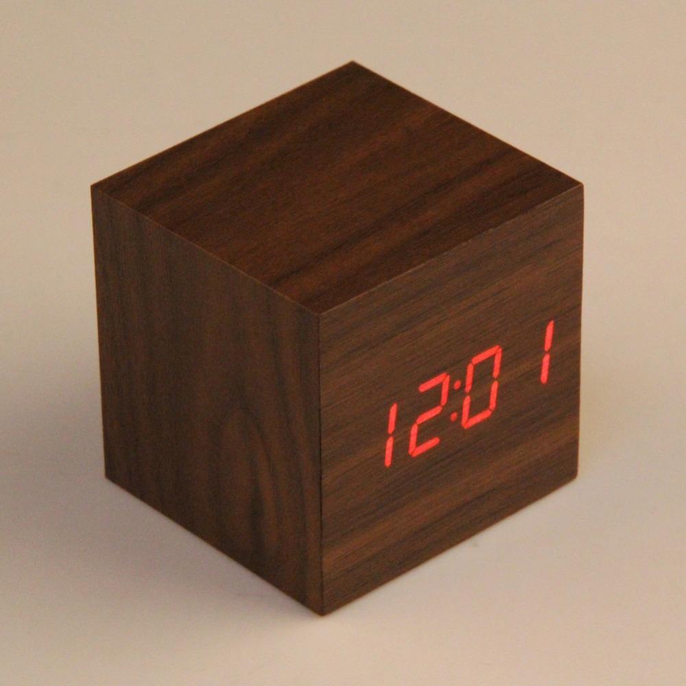 LS4G New Fashion 2 x AAA/ USB Powered Mini Wooden Clock LED Digital Desktop Alarm Clock(China (Mainland))