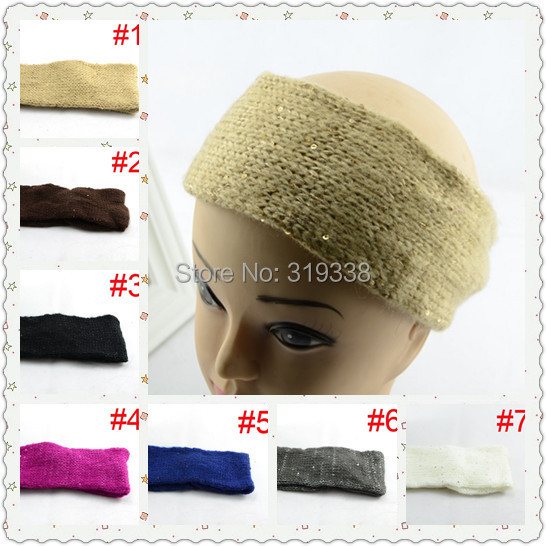 1pc Crochet Ear Warmer Winter Headband Womens Knitted Soft Hairband with sequins WH062(China (Mainland))