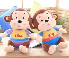 Super cute 1pc 30cm cartoon kiss i love you monkey festival plush doll creative stuffed toy children Valentine's Day gift