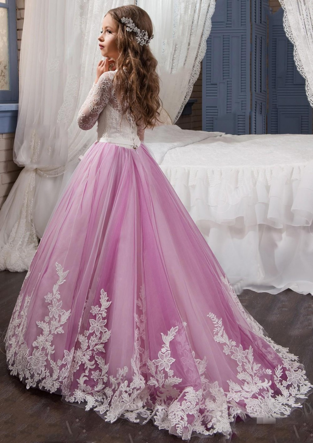 2017-Princess-Long-Sleeves-Lace-Flower-Girl-Dresses-2017-Vestidos-Puffy-Pink-Kids-Evening-Ball-Gown (1)