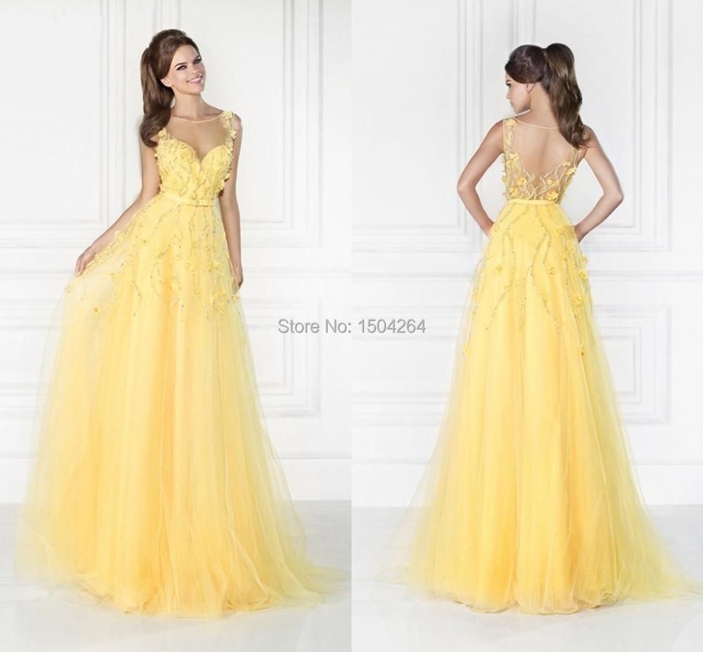 Vestido largo de noche amarillo