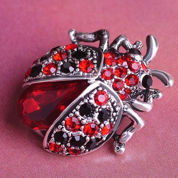 Vintage Beetle Crystal Brooch