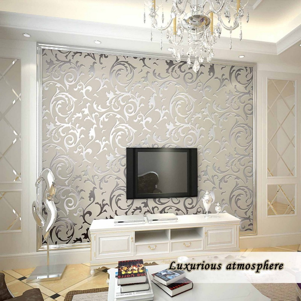 Luxury silver wallpaper for Silver wallpaper living room
