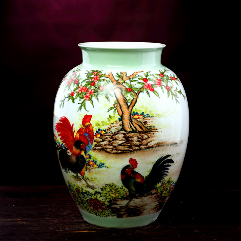 Jingdezhen ceramic vase ornaments famous hand-painted glaze pastel <font><b>Rooster</b></font> modern luxury <font><b>home</b></font> <font><b>decorations</b></font>