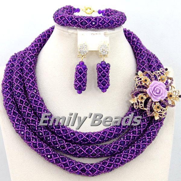 Purple African Beads Jewelry Set Crystal Beads Jewelry Set Fashionable Handmade Bridal Necklace Set Free Shipping AEJ645(China (Mainland))