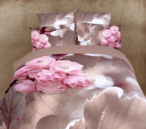 3D Pink flower floral bedding set queen size bedspread duvet cover sheets bed in a bag bedsets bedroom quilt linen 100% cotton(China (Mainland))