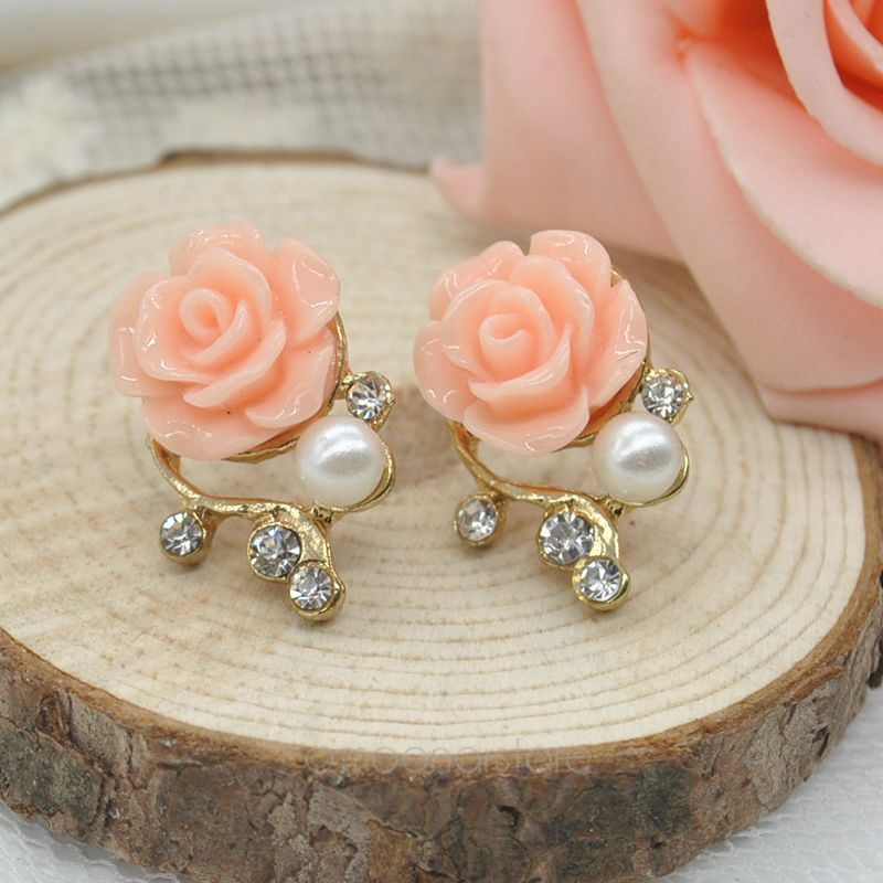 New Fashion Women Jewelry Cute Sweet Rose Shaped Artificial Pearl and Diamond Stud Earrings for Women Ladies Girls FYMHM002A1(China (Mainland))