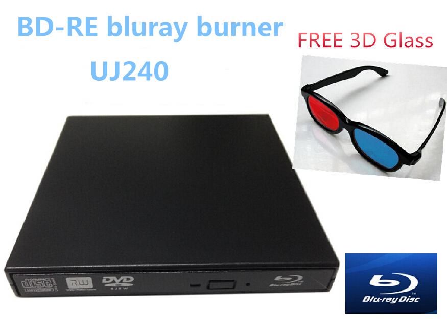 free 3D blue&red glasses bluray drive USB BD-RE 6x bluray burner External 3D& bluray player(China (Mainland))