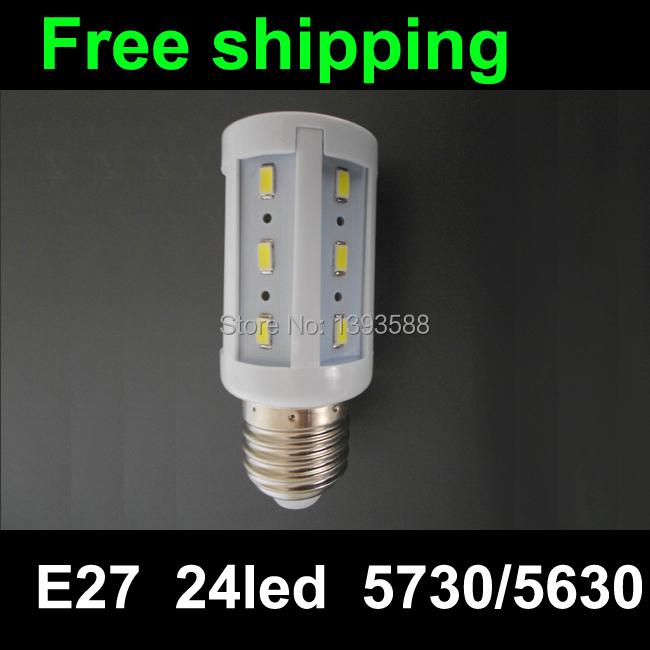 led lamp e27 220v 24led SMD5730 led lam Warm white/white LED Corn Light free shipping(China (Mainland))
