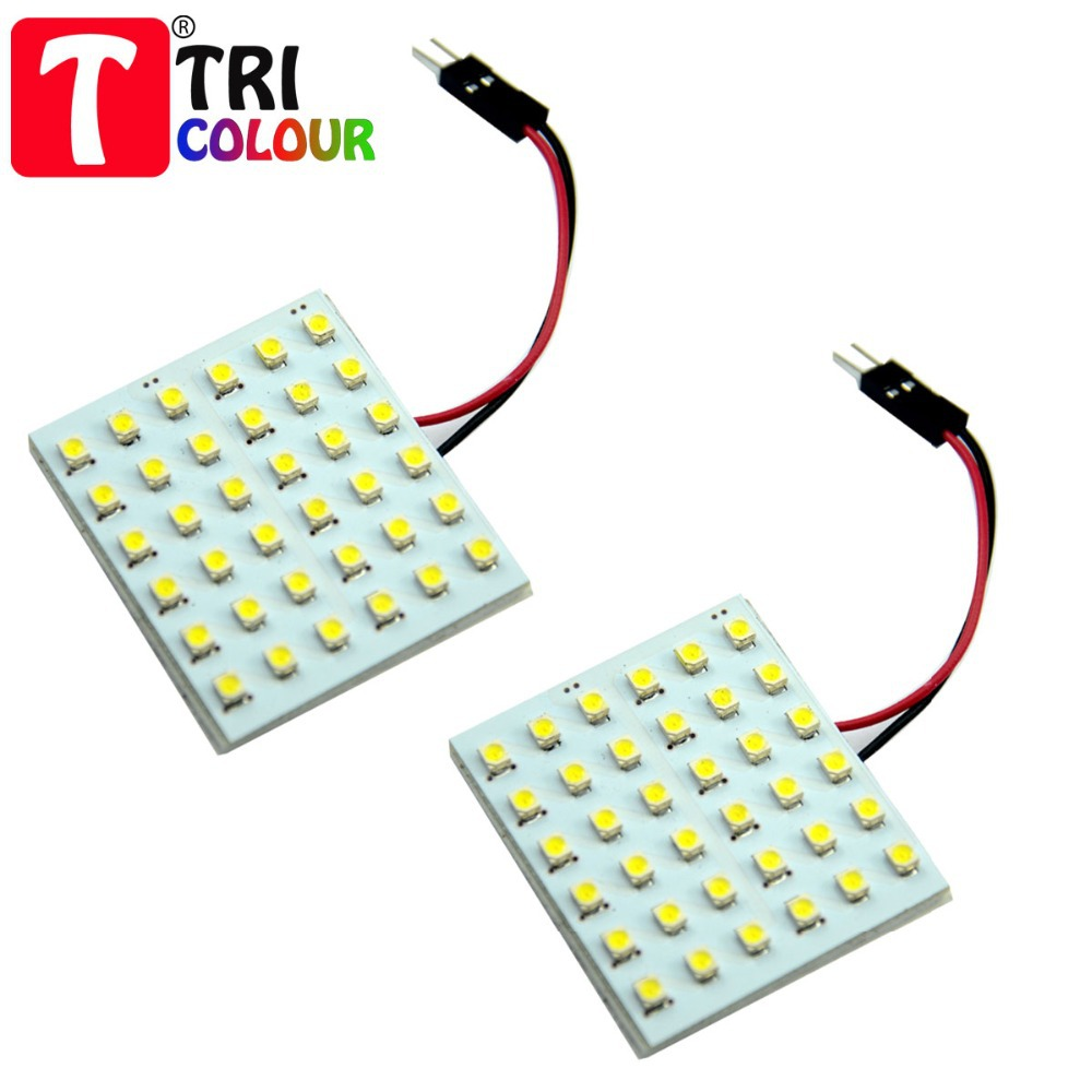 100 X Festoon T10 Dome Panel Light 36 SMD 1210 3528 LED Car Interior Roof Map Reading Working light 12V White Blue #LL05