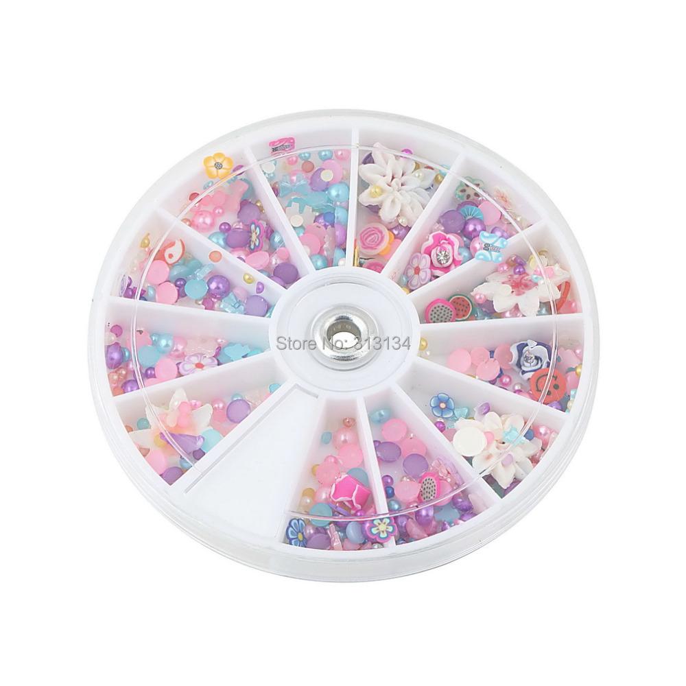 New Arrival 500pcs Nail Art Wheel Mixed Art Tips Glitters Rhinestones nail designs nail gems nail art decorations(China (Mainland))