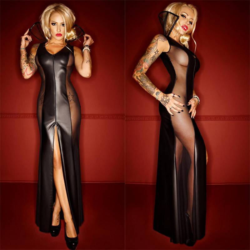 Women Gothic Black Leather Sexy Bodycon Party Dresses PVC Erotic Leotard Costumes Latex Bodysuit Catsuit Wet Look Long Dress(China (Mainland))