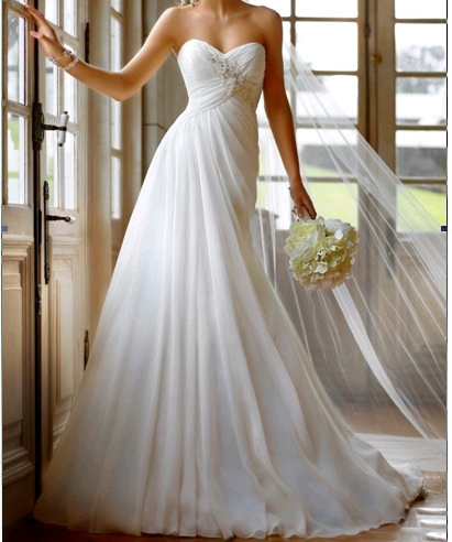 Дешевой цене! 2016 новая бесплатная доставка отбортовывая линию с поездом милая шифон свадебные платья FS1009