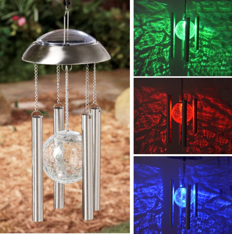 New Arrivals Copper Hanging Wind Chime Light Garden Yard Decoration Fashion Solar Powered Color Changing Glass Ball LED Light(China (Mainland))