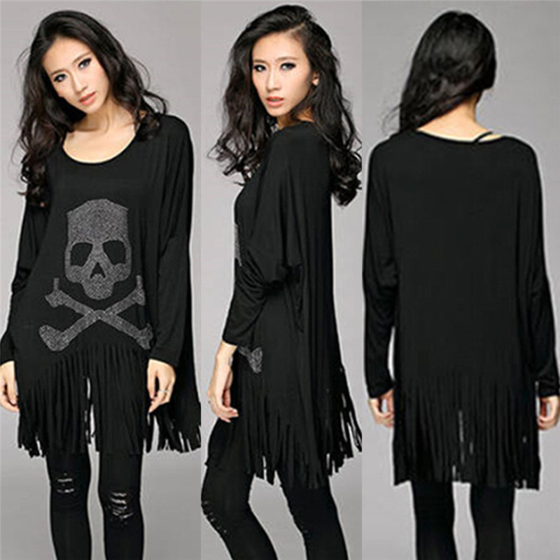 Punk Rock loose tassel tops batwing long sleeve skull heads print women T shirt fashion Europe Fashion casual style Hot