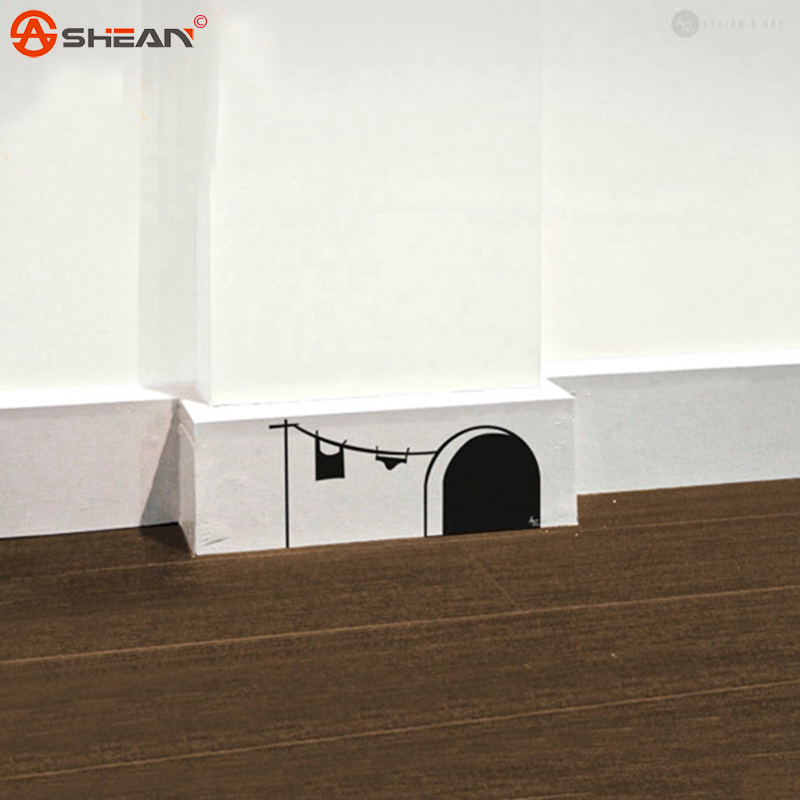 New Cute Cartoon Mouse Home Sticker Wall Decor Mouse Hole - Children Decor Vinyl Sticker Wall Decal(China (Mainland))